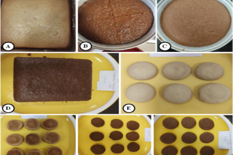 Images of prepared cookies and cake