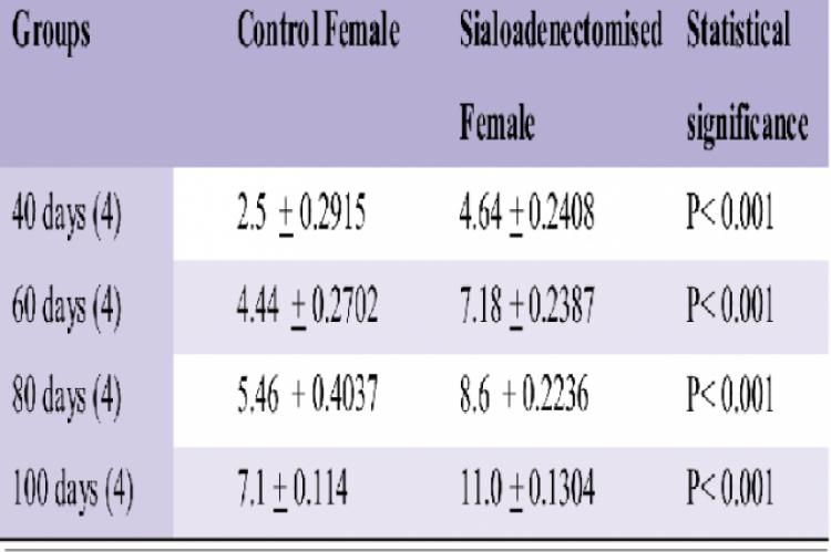 Effect of sialoadenectomy on Lactate dehydrogenase activity